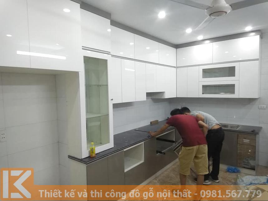 Chuyên đóng tủ bếp bằng gỗ nhựa giá rẻ MS0039