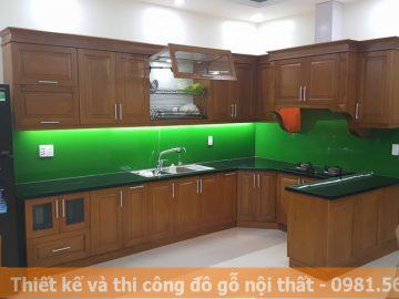 Đóng tủ bếp gỗ xoan đào tự nhiên hình chữ L MS0005