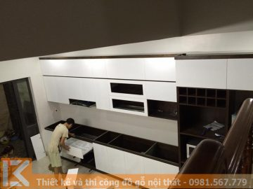 Thi công hoàn thiện nội thất tủ bếp gỗ trọn gói MS0035