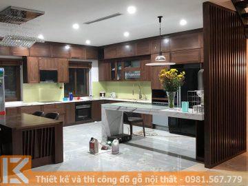 Mẫu đóng tủ bếp gỗ óc chó dành cho biệt thự MS0011