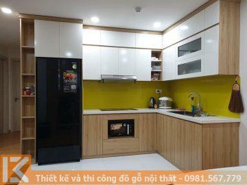 Mẫu tủ bếp gỗ mdf phủ melamine chung cư MS0009