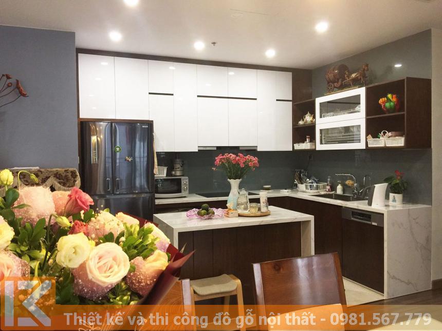 Đơn vị thi công nội thất tủ bếp bằng gỗ đẹp tại HCM MS0038