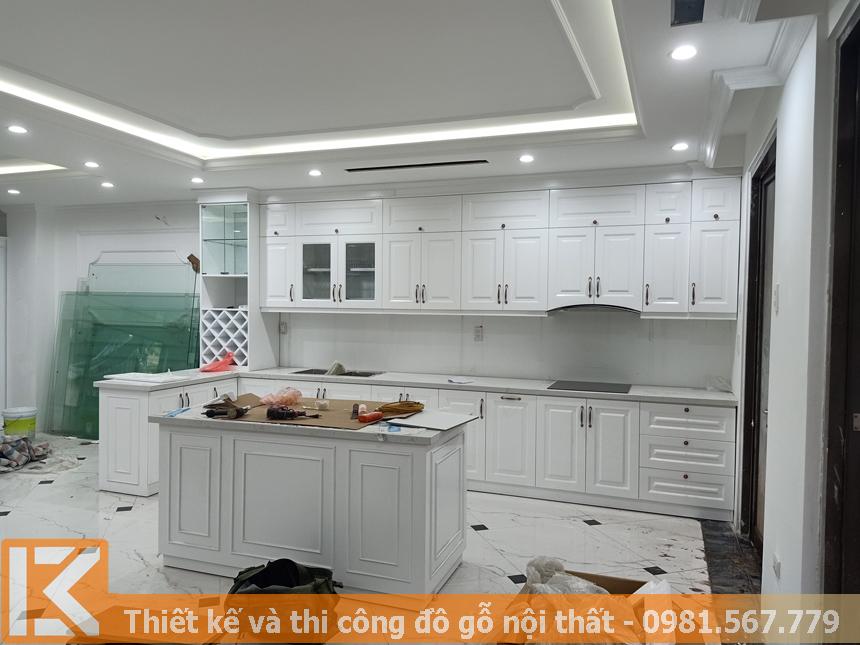 Thiết kế tủ bếp gỗ sồi sơn trắng ở Quận Phú Nhuận MS0051