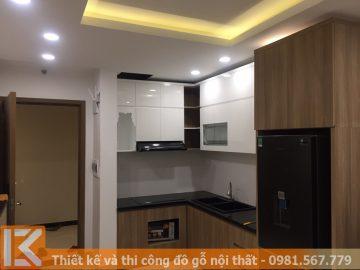 Thi công tủ bếp chung cư bằng gỗ công nghiệp MS0013