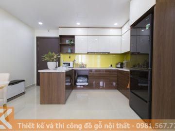 Tủ bếp gỗ chung cư cao cấp bằng gỗ acrylic an cường MS0012
