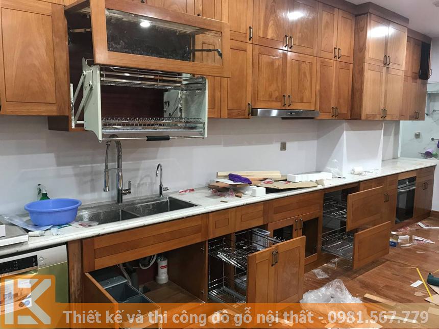 Tủ bếp gỗ tự nhiên cao cấp, uy tín, chuyên nghiệp MS0037