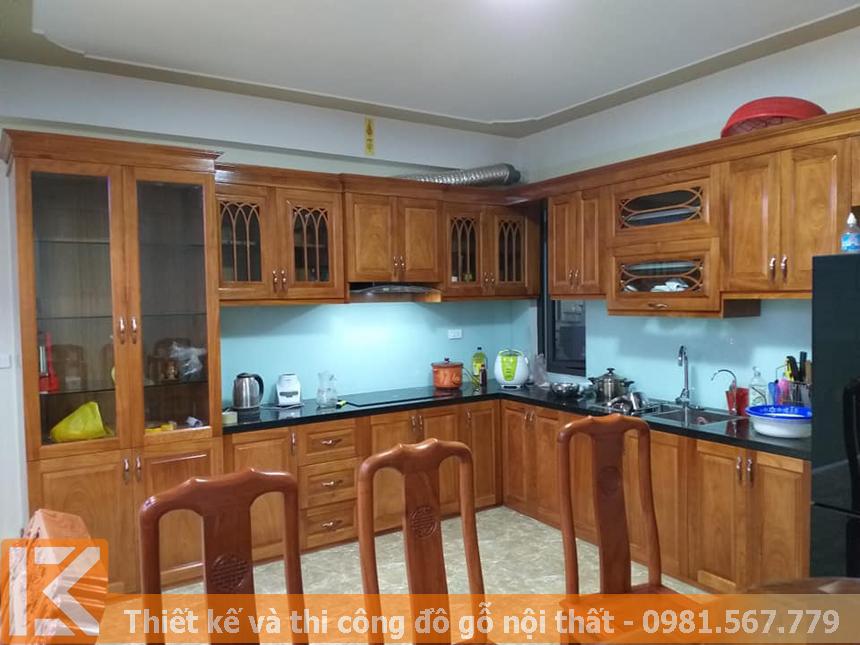 Thiết kế, thi công tủ bếp gỗ tự nhiên gõ đỏ cao cấp MS0036
