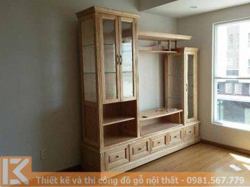 Đóng kệ tivi phòng khách bằng gỗ sồi tự nhiên KT0017