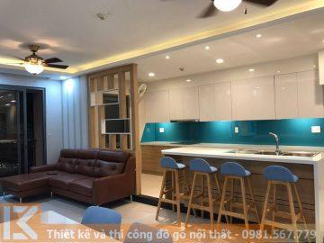 Hình ảnh thi công hoàn thiện đồ gỗ nội thất b17-04 chung cư Goldview quận 4