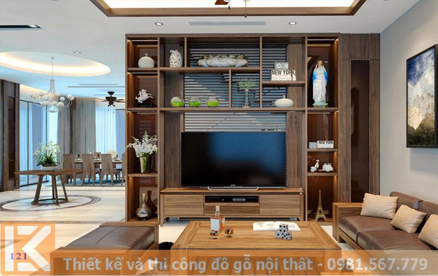 Mẫu thiết kế kệ tivi bằng gỗ óc chó tự nhiên KT0010