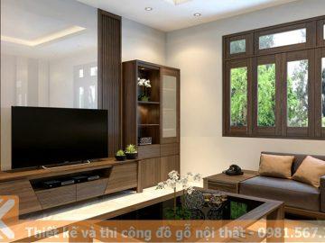 Mẫu thiết kế kệ tivi bằng gỗ óc chó tự nhiên KT0011