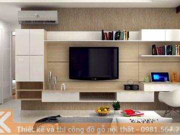 Mẫu thiết kế kệ tivi chung cư gỗ công nghiệp KT0005