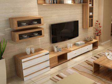Mẫu thiết kế kệ tivi chung cư gỗ công nghiệp KT0006