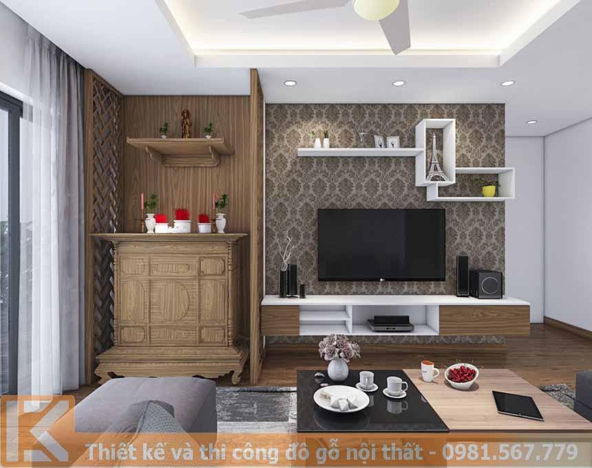Mẫu thiết kế kệ tivi hiện đại bằng gỗ công nghiệp KT0012