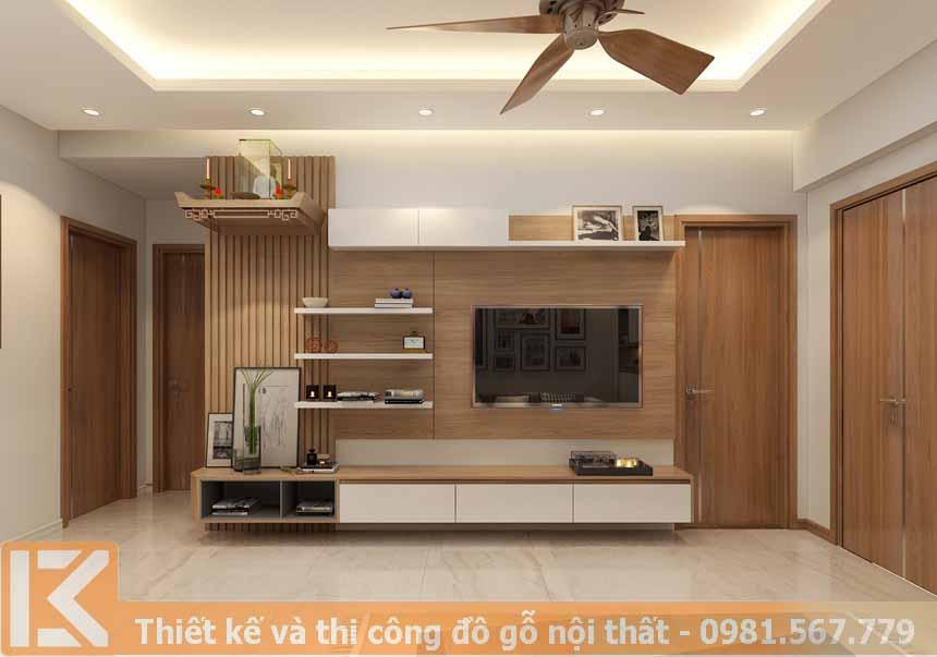 Mẫu thiết kế kệ tivi hiện đại bằng gỗ công nghiệp KT0013