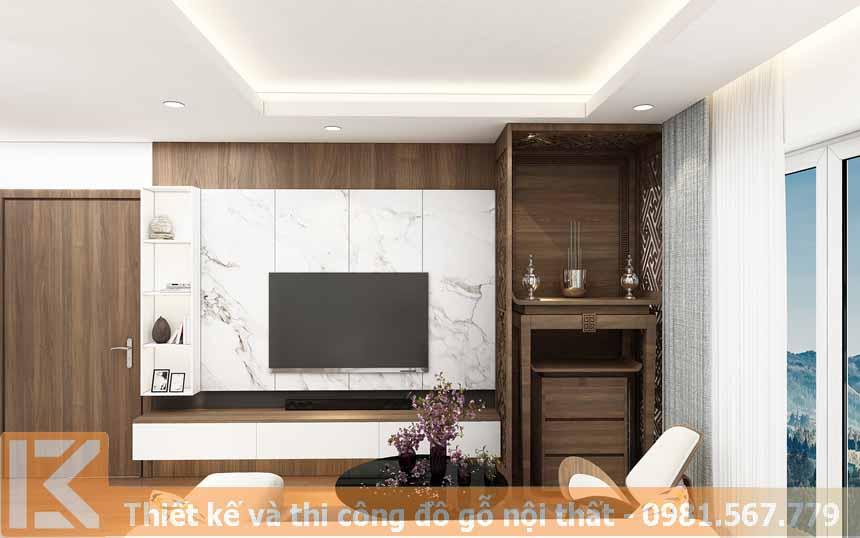 Mẫu thiết kế kệ tivi hiện đại bằng gỗ công nghiệp KT0014