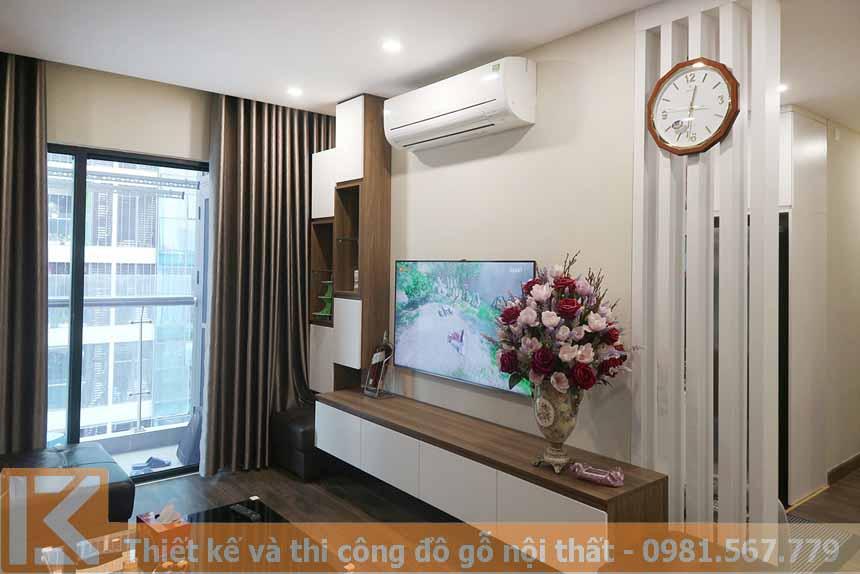 Mẫu thiết kế kệ tivi phòng khách bằng gỗ an cường KT0008