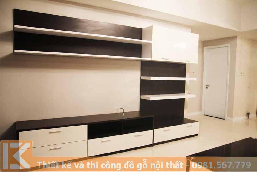 Mẫu thiết kế kệ tivi phòng khách bằng gỗ an cường KT0009
