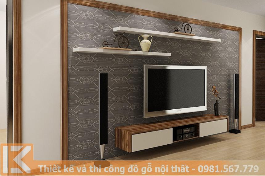Mẫu thiết kế kệ tivi phòng khách gỗ công nghiệp KT0007