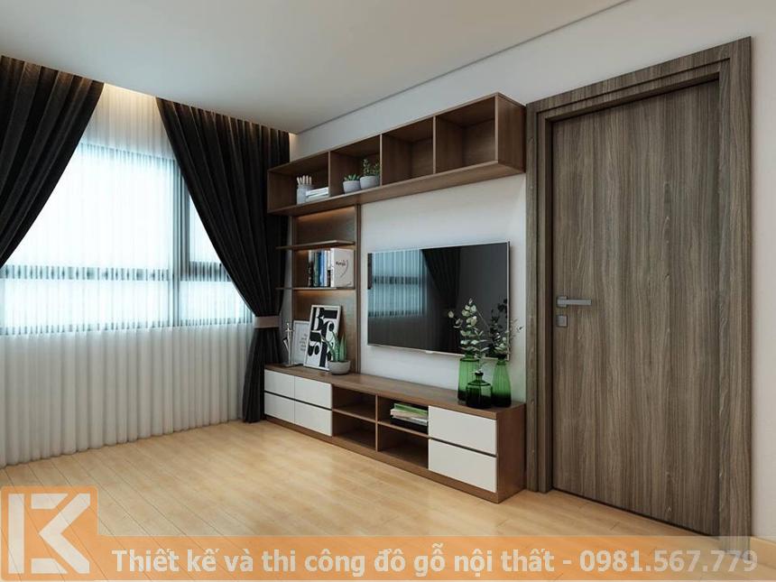 Mẫu thiết kế kệ tivi phòng khách chung cư KT0001