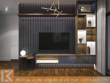 Mẫu thiết kế kệ tivi phòng khách đẹp và hiện đại KT0002