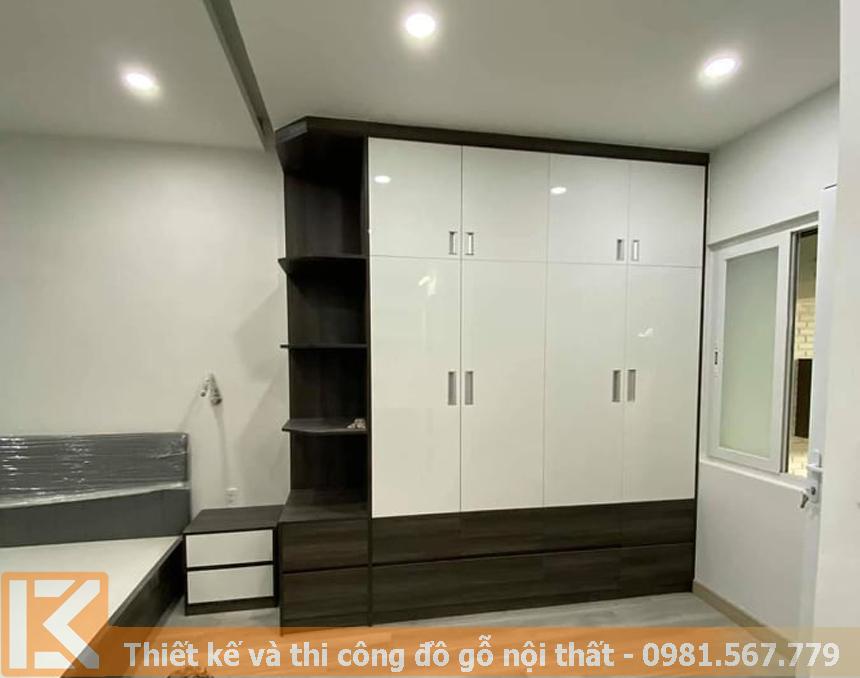 Thiết kế mẫu tủ quần áo gỗ công nghiệp KM007