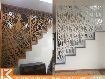 Thiết kế vách ngăn trang trí hoa văn cầu thang ở quận 10 #KM24546011