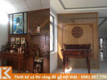 Thiết kế vách ngăn trang trí hoa văn phòng thờ ở quận 5 #KM24546010